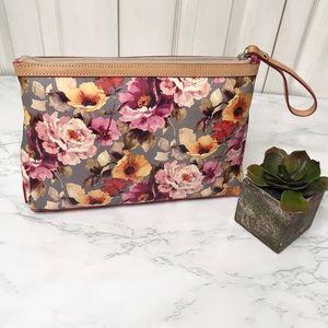 Cavalcanti Italian made leather floral zip clutch
